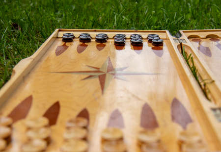 A fragment of a Board with black checkers for playing backgammon. The Board is lying on the green grass.