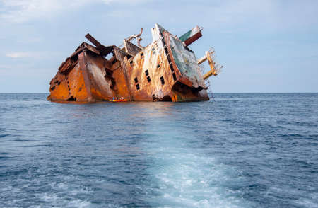 Crimea, Cape Tarkhankut, August 2020. Remains of the sunken ship Ibrahim Yakim off the coast of Cape Tarhankut.