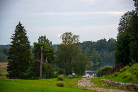 Summer evening landscape. The river flows among green banks. Moon over the trees.