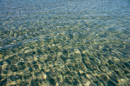 Full frame transparent sea water, illuminated by the sun. Natural background, copy space for text.
