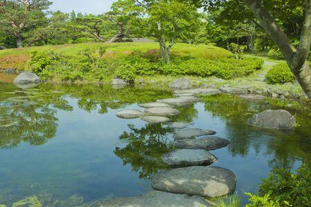 Japanese Garden pond 免版税图像