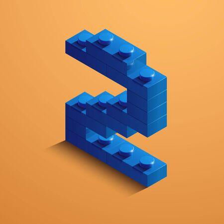 3d blue number 2 on orange background illustration. 일러스트