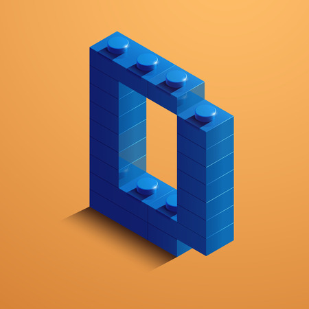 3d isometric letter D of the alphabet from lego bricks. 3d isometric plastic letter from the ego blocks
