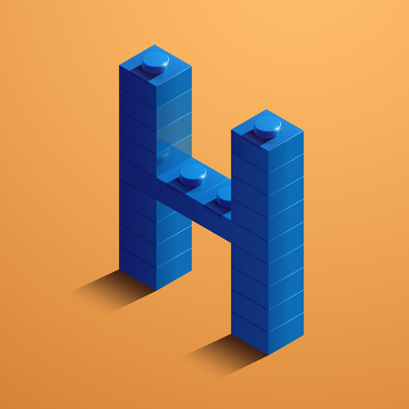 3d isometric letter H of the alphabet from lego bricks. 3d isometric plastic letter from the ego blocks Çizim