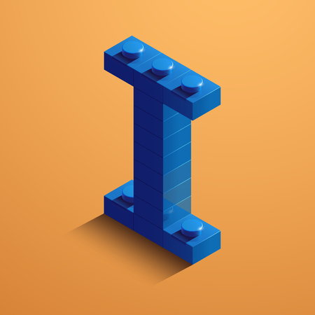 3d isometric letter I of the alphabet from lego bricks. 3d isometric plastic letter from the ego blocks