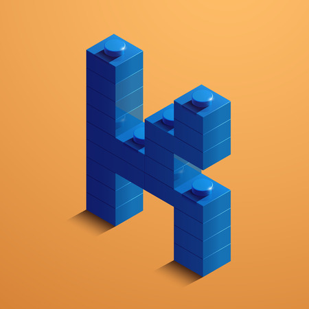 3d isometric letter K of the alphabet from lego bricks. 3d isometric plastic letter from the ego blocks