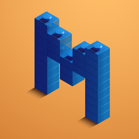 3d isometric letter M of the alphabet from lego bricks. 3d isometric plastic letter from the ego blocks