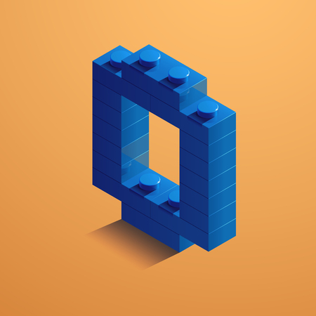 3d isometric letter O of the alphabet from lego bricks. 3d isometric plastic letter from the ego blocks