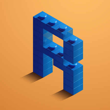 3d isometric letter R of the alphabet from lego bricks. 3d isometric plastic letter from the ego blocks Illustration