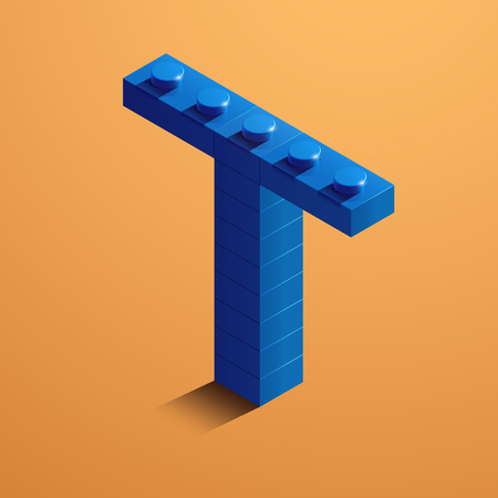 3d isometric letter T of the alphabet from lego bricks. 3d isometric plastic letter from the ego blocks