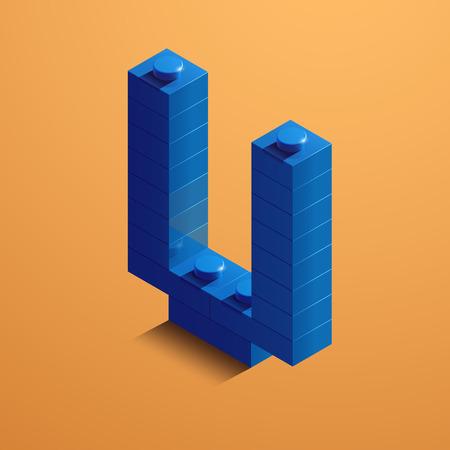 3d isometric letter V of the alphabet from lego bricks. 3d isometric plastic letter from the ego blocks Çizim