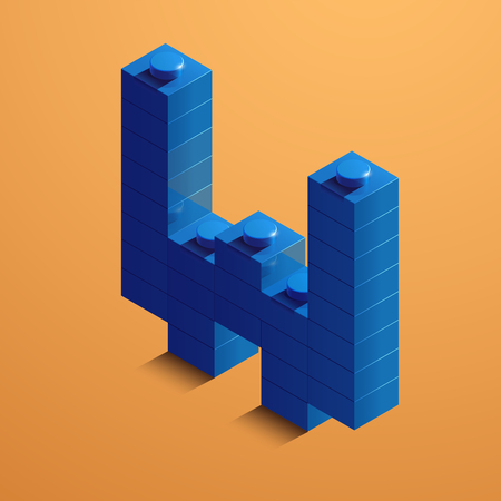3d isometric letter W of the alphabet from lego bricks. 3d isometric plastic letter from the ego blocks Çizim