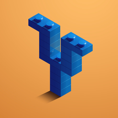 3d isometric letter Y of the alphabet from lego bricks. 3d isometric plastic letter from the ego blocks Çizim