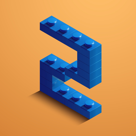 3d isometric letter A of the alphabet from lego bricks. 3d isometric plastic letter from the ego blocks.