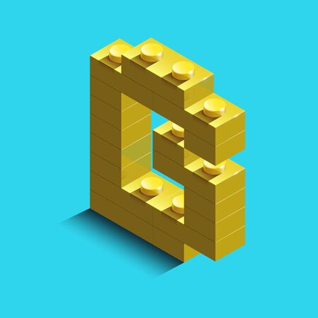 3d isometric letter A of the alphabet from bricks. 3d isometric plastic letter from the blocks. Illustration