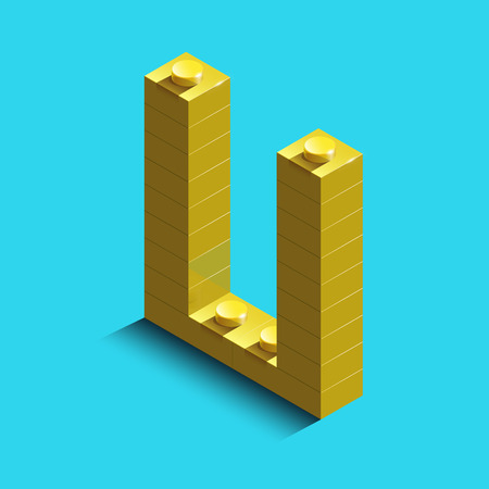 Realistic gold 3d isometric letter U of the alphabet from constructor bricks. Yellow 3d isometric plastic letter from the building blocks. Colorful character of alphabet letter font. Illustration