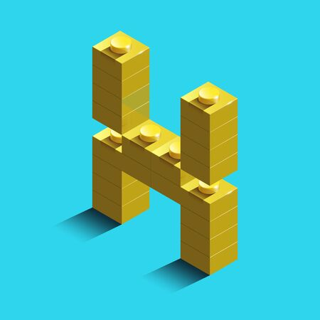 Realistic gold 3d isometric letter X of the alphabet from constructor bricks. Yellow 3d isometric plastic letter from the building blocks. Colorful character of alphabet letter font.