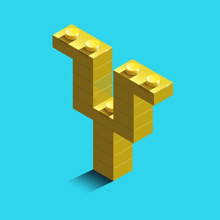 Realistic gold 3d isometric letter Y of the alphabet from constructor bricks. Yellow 3d isometric plastic letter from the building blocks. Colorful character of alphabet letter font.