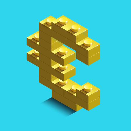 Euro Icon in a trendy style. Euro symbol for your web site design, logo, app, UI. Realistic gold 3d isometric euro from the building blocks.
