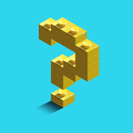 Gold 3d question mark sign icon from constructor bricks. Vector illustration. Digital style. Colorful character of alphabet sign font. Иллюстрация