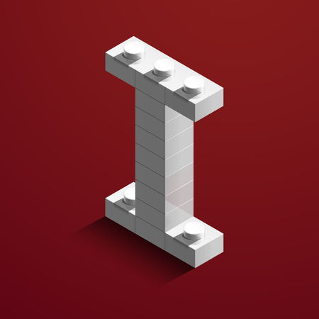 Realistic white 3d isometric letter I of the alphabet from constructor bricks.