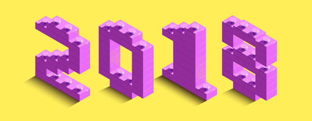3d isometric pink numbers from a brick on a yellow background. 3d text about new year