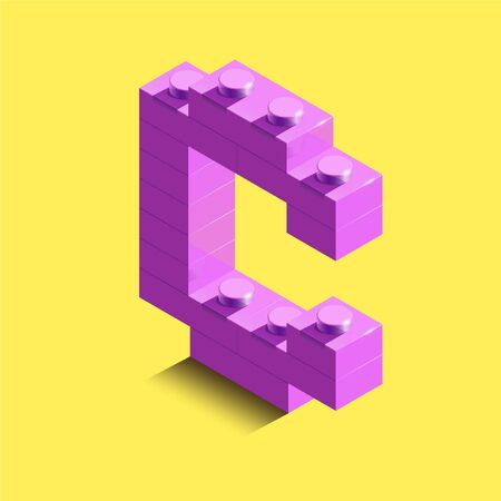 Realistic pink 3d isometric letter C of the alphabet from constructor bulding bricks. Pink 3d isometric plastic letter from the building blocks. 3d letters