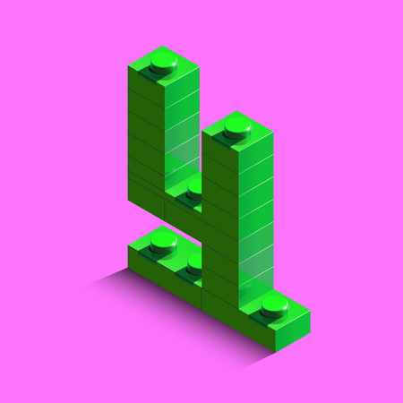 Green number Four from constructor bricks on pink background. 3d number Four