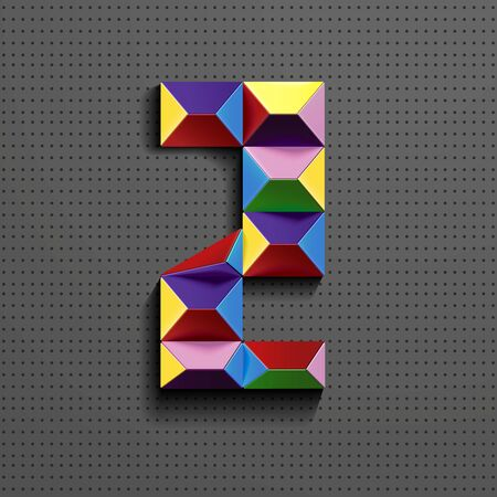 3d colorful geometric number Two building bricks. realistic 3d number Two. puzze number. isometric numbers 3d.