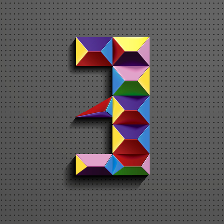3d colorful geometric number Three building bricks. realistic 3d number Three. puzze number. isometric numbers 3d.