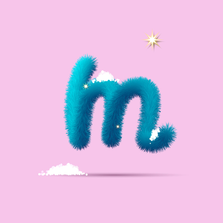 Fluffy 3D winter letters for posters, postcards and website design.Christmas fluffy and shaggy letter. Fur blue letter. Children's fluffy letter on the snow. 3D calligraphy 일러스트