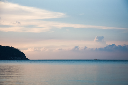 Tropical dusk in gentle blue and pink colors in Thailand, Koh Phangan