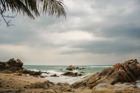 stomy: Tropical beach at cloudy and stomy weather in Koh Phangan, Thailand
