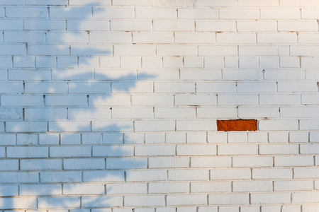 singular architecture: One red brick on the white brickwall