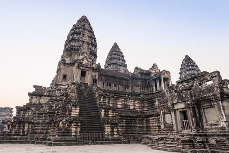 Angkor Wat Temple. Stairs leading to upper galleries and towers of main Temple. Ancient temple complex Angkor Wat in Siem Reap, Cambodia. Angkor Wat isthe largest religious monument in the world. Stock Photo