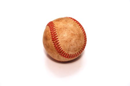 hardball: Old Vintage Baseball Isolated Over White Background