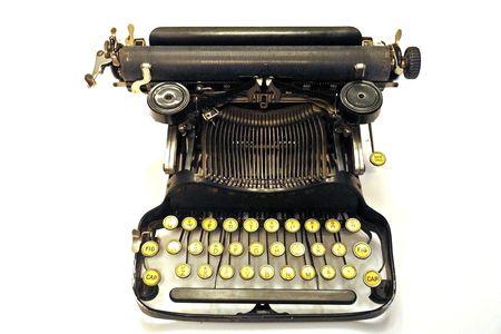 Oude Vintage Typemachine Geïsoleerde over wit