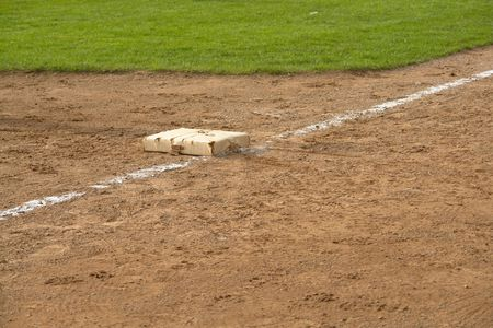 foul: Third Base with foul line Stock Photo