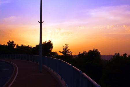 A view on the horizon at sunset, Haifa, Israel