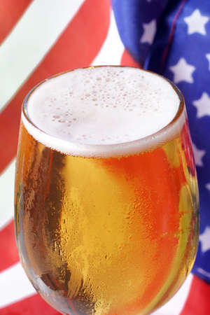 Cold beer macro and the American flag. Stock Photo - 912404