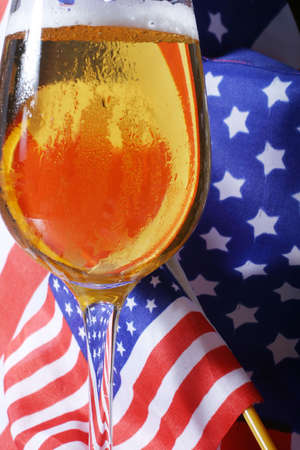 Cold beer macro and the American flag. Stock Photo - 912406