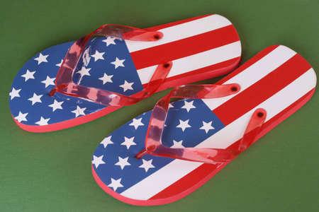 patriotic flip flops Stock Photo