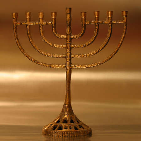Golden Hanukkah menorah