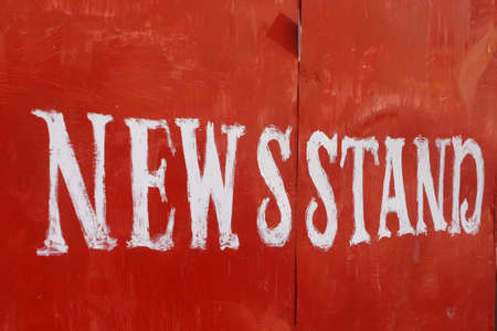 News stand, white over red Stock Photo