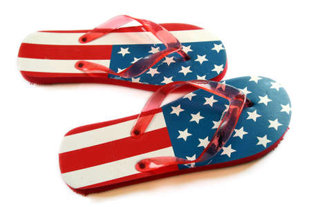 Patriotic flip flops over white