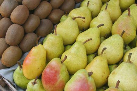 Pears and kiwi display at the market of Varna, Bulgaria