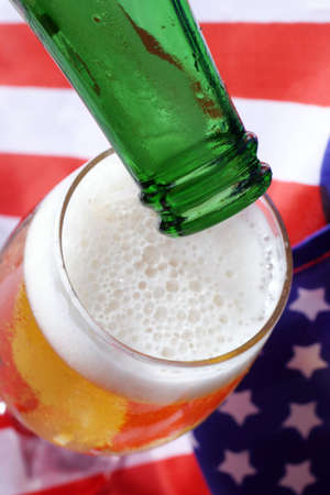 Cold beer macro and the American flag. Stock Photo - 915660