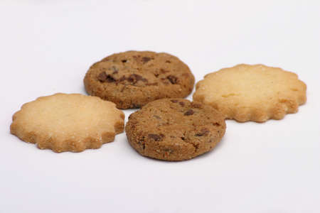 yummy four cookies over white background