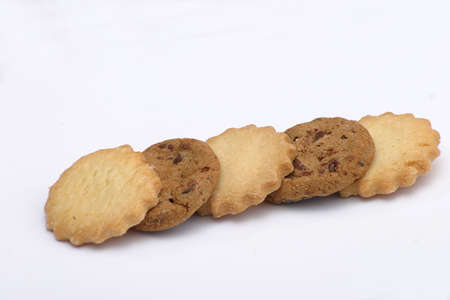 yummy five cookies over white background Stock Photo