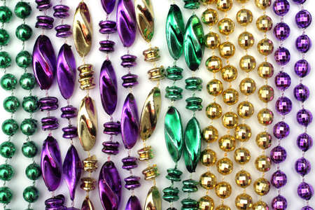 Mardi Gras beads - green, gold, purple